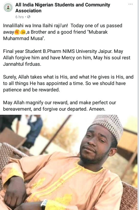 Photo: Final year Nigerian Pharmacy student dies in India