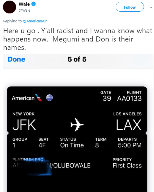 Rapper Wale says American Airlines employees told him he didn