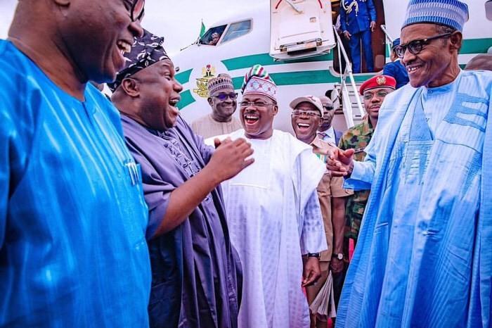 APC Campaign Finale: President Buhari Arrives Osogbo, Osun State (Photos)