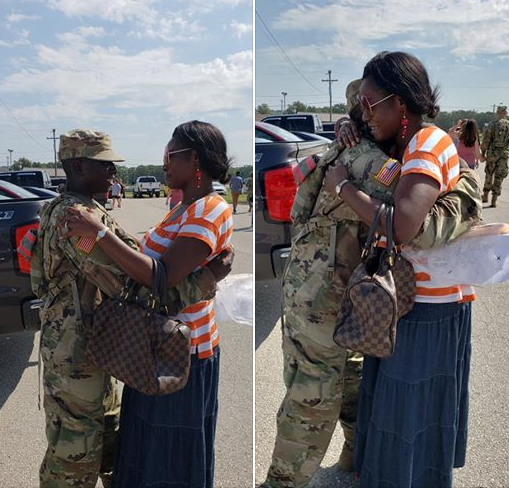 Nigerian mother gets emotional as she hugs her son who recently joined the US army (photos)