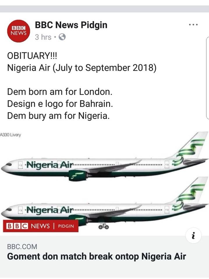 See how BBC is reporting the indefinite suspension of Nigeria Air...lol