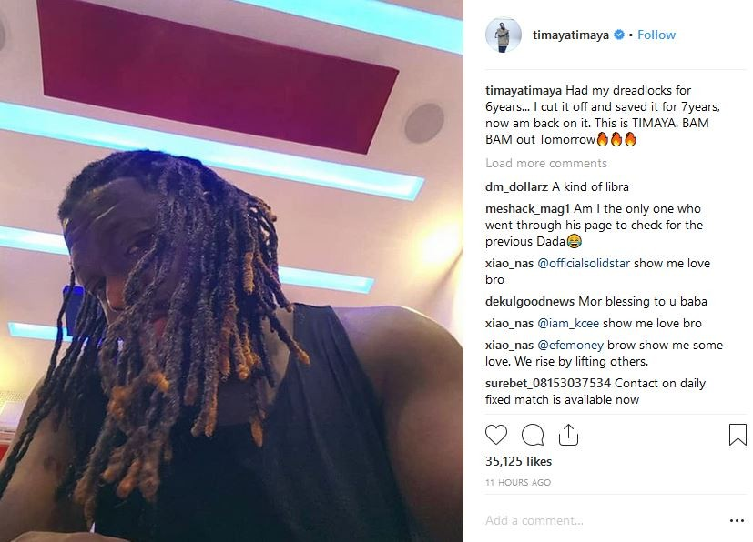 Singer Timaya goes back to his old dreadlocks hairstyle after saving it for 7 Years (photos)