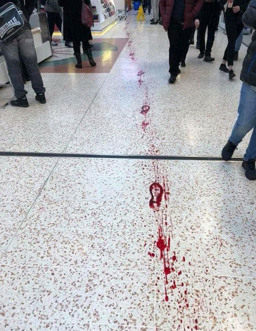 Stabbed teen collapses in pool of blood as warring gang members battled in busy shopping mall (graphic photos/videos)