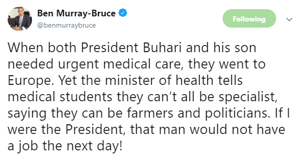 Ben Bruce calls for sack of Minister of Health following his comment on Nigerian medical graduates