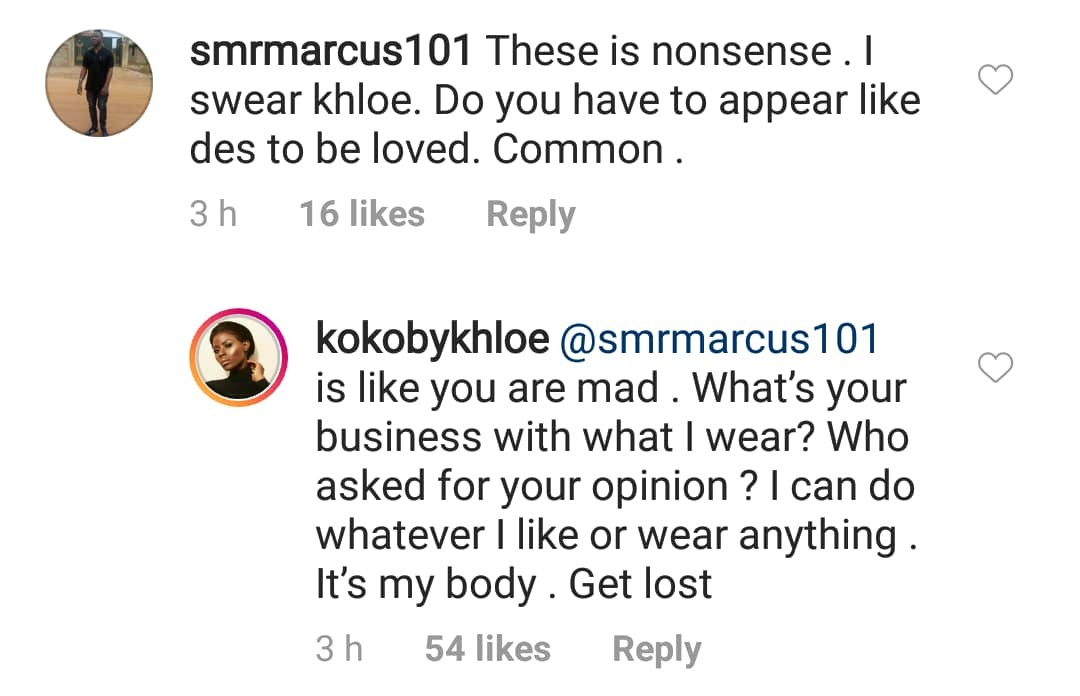 Ex-BBN housemate Khloe blasts troll who attacked her over her dress