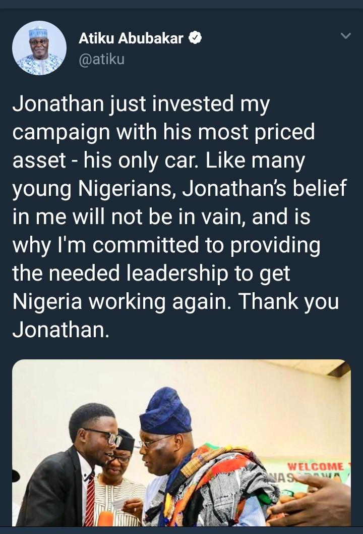 Atiku Abubakar shares photo of a young Nigerian man who contributed his