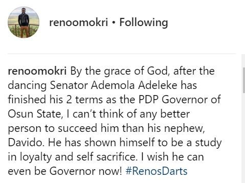 Reno Omokri suggests Davido contests for Osun state governorship election in 2 years time, says he is loyal