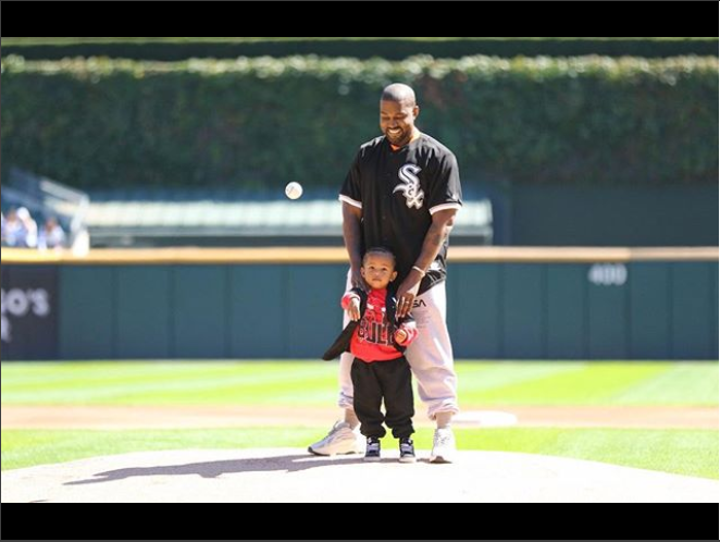 Kanye West strikes a pose with his cute son Saint West