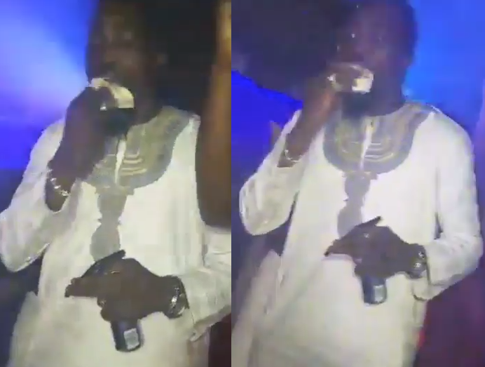 Viral video of young man chewing foreign currency in a club and digesting it with a drink