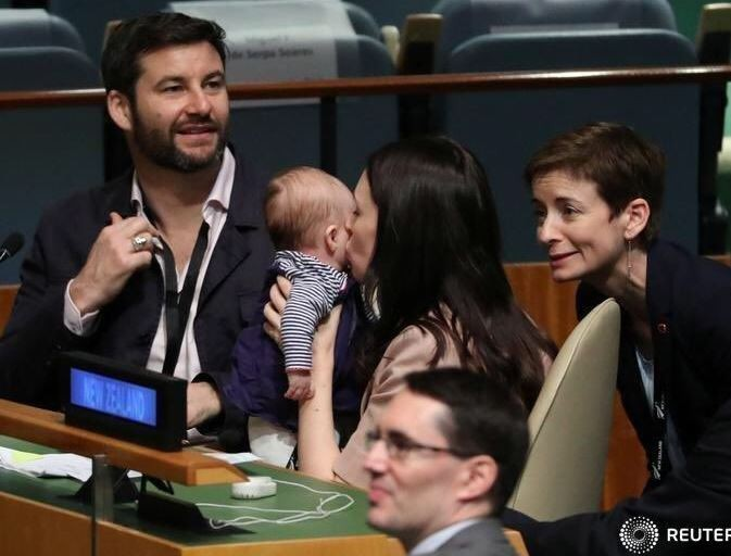 Photo:?New Zealand Prime Minister who gave birth while in office makes?history by bringing her 3-month-old child into the United Nations assembly hall