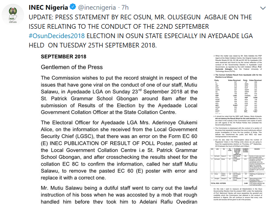 #OsunDecides2018: INEC admits error in vote collation in Osun election