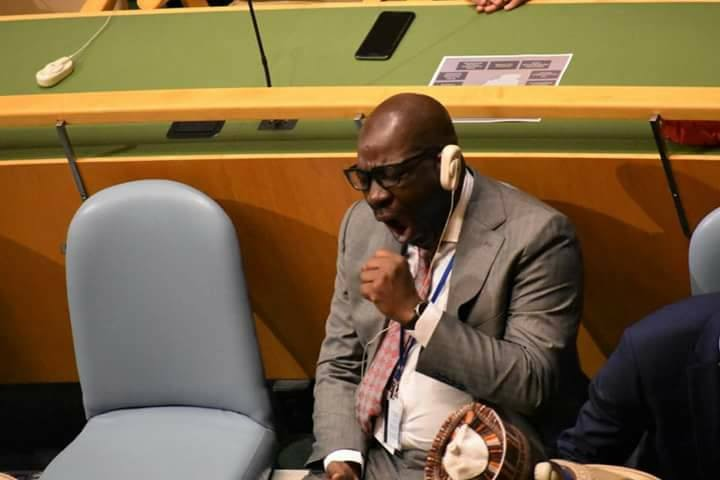 Edo state governor, Godwin Obaseki, caught on camera sleeping while President Buhari addressed the UN general Assembly(photos)