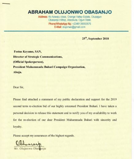 Breaking:?Obasanjo?s son writes a letter to Festus Keyamo declaring himself available to work for President Buhari?s re-election
