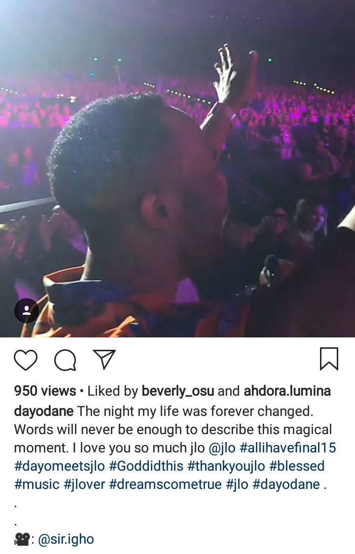 Ex Nigerian presenter, Dayo Ephraim shares his excitement after being brought up on stage by Jennifer Lopez during her performance (video)