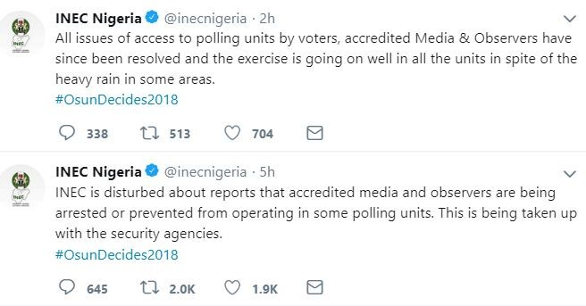 #OsunDecides2018:?All issues of access to polling units voters, accredited Media & Observers have been resolved - INEC