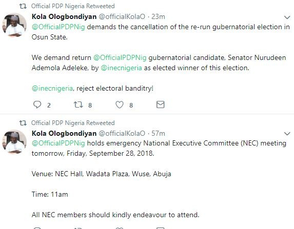 PDP demands the cancellation of the re-run gubernatorial election in Osun State, calls emergency NEC meeting in Abuja