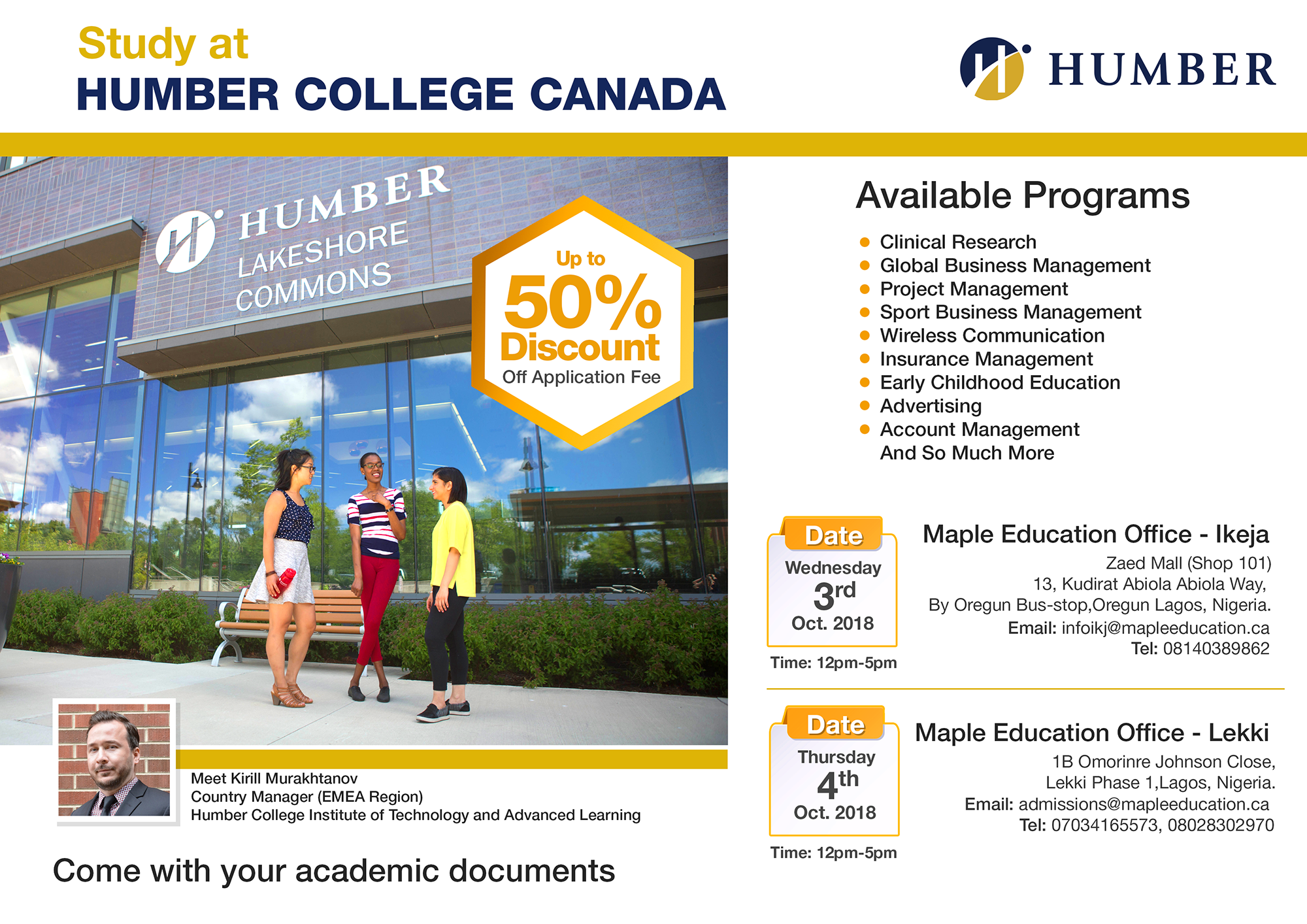 Free Education Seminar Work While You Study At Humber College Canada