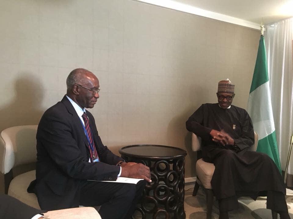Photo: President Buhari meets first black man elected senator in Italy