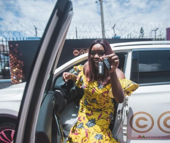 Photos: Ex BBN housemate, Bisola receives her brand new SUV prize from AMVCA