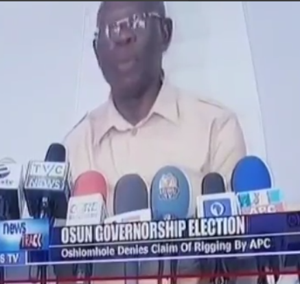 Video: Moment APC National chairman, Adams Oshiomole, mistakenly mentioned rigging while speaking on Osun state rerun election