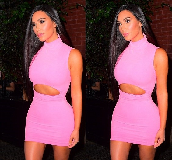 Kim Kardashian shows off her hourglass curves in a pink cutout mini-dress as she steps out in NYC (Photos)