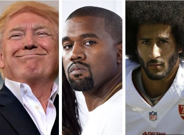 Photo:?Kanye West causes a stir by rocking a President Trump??MAGA? hat with a Colin Kaepernick sweatshirt