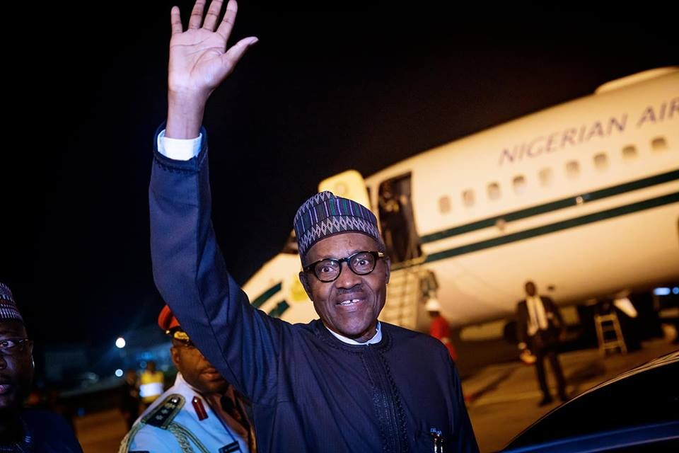 President Buhari and Wife, Aisha arrive Abuja from the United Nations General Assembly (Photo)