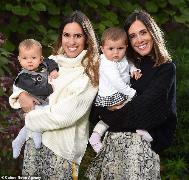 Meet the Identical twin sisters who gave birth to baby daughters just days apart after unintentionally falling pregnant at the same time (Photos)