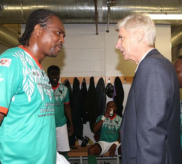 Arsene Wenger and Kanu reunite at his charity match in London (Photo)