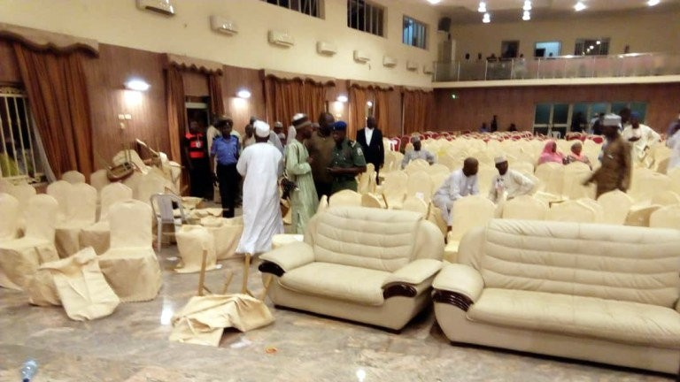 Video/Photos: Serving Senator reportedly slaps Commissioner at Gombe PDP primaries