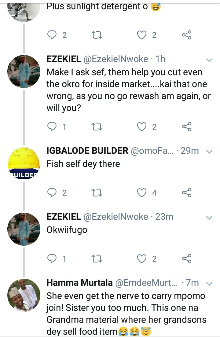 Hilarious reactions follow after a woman claimed to be a wife material and showed off the food items she bought for 970 Naira