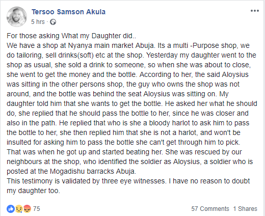 Man accuses a soldier of brutalising his daughter in Abuja?(Photo)
