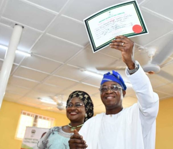 Photo: INEC presents?certificate of return to Gboyega Oyetola as Osun State Governor-elect