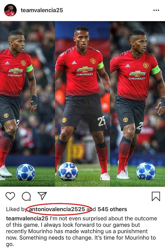 Man.U captain Antonio Valencia apologises for liking an Instagram post calling for his coach Jose Mourinho to be fired.