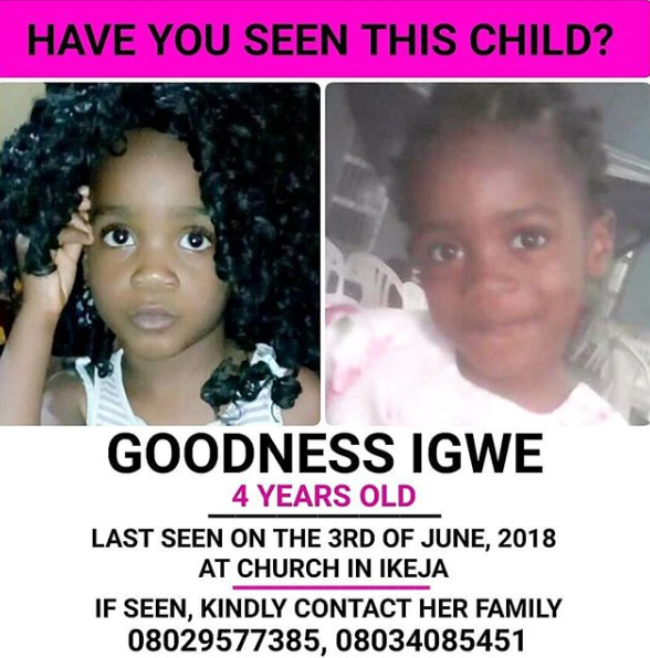 Parents seek help in locating their four-year-old daughter who was picked up by a stranger in their Lagos church in June(photos)