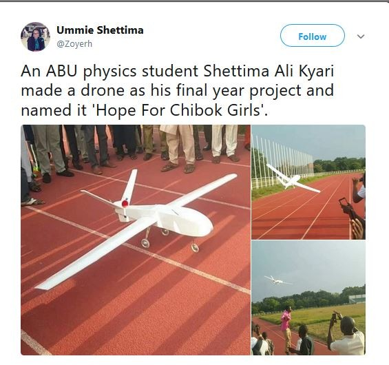 Nigerian physics student builds a drone, names it