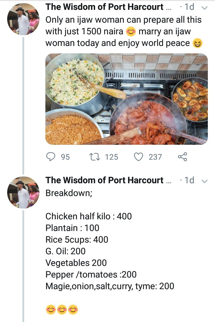 Ijaw man shows off the meal his wife cooked up for 1,500 Naira and explains how she managed it