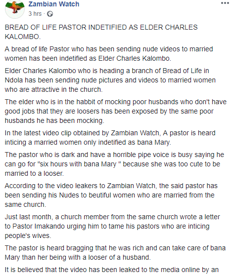 Popular Zambian pastor allegedly sent nude videos and photos to married members and the husband of one of the women releases it