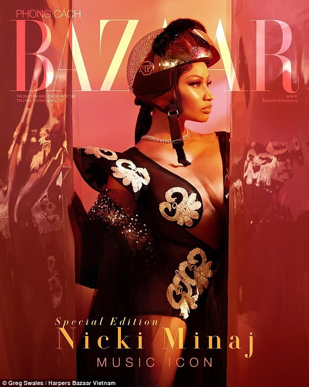 Nicki Minaj stuns in cleavage-baring gowns for the Music Icon issue of Harper