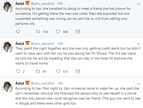 Twitter stories: Ijebu native doctor refuses to use lady brought to him for money ritual , says her destiny has already been used by someone else