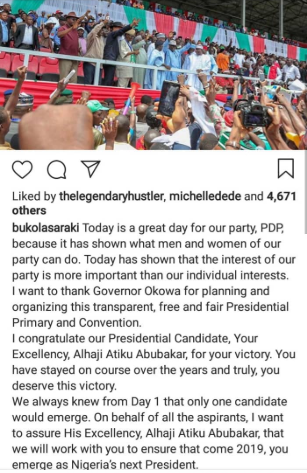 Saraki, Dankwambo congratulate Atiku Abubakar as he wins the PDP Presidential ticket for 2019