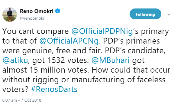 Reno Omokri reacts to Atiku Abubakar emerging PDP Presidential candidate while also comparing PDP