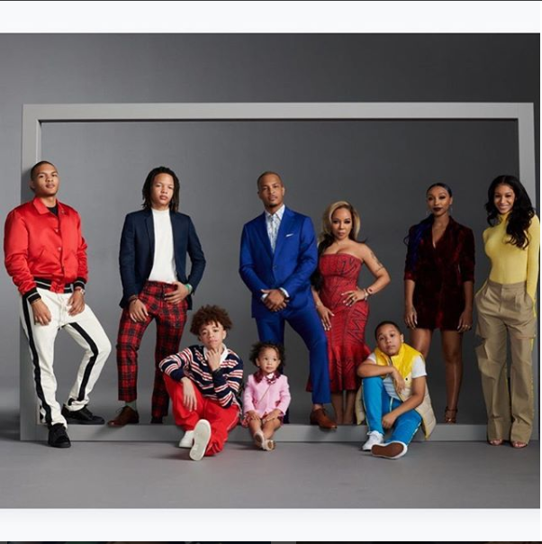 Adorable family photo of rapper T.I, his wife and their seven children