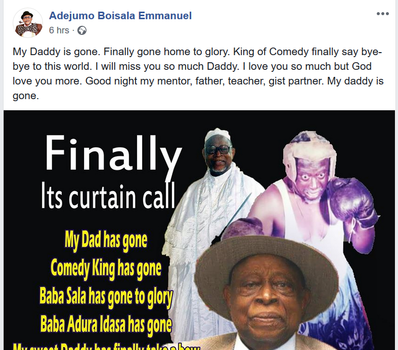 Veteran Comedian and actor, Baba Sala is dead