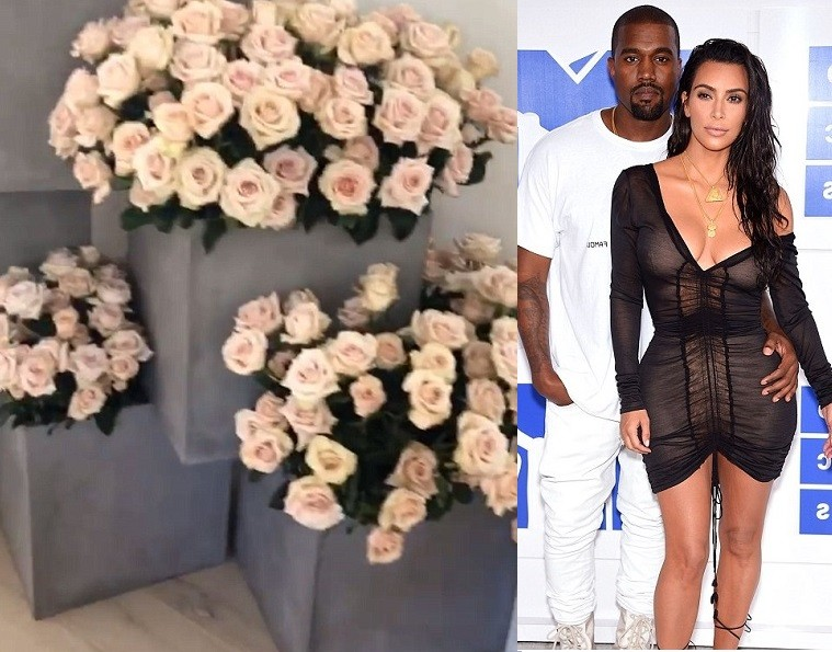 Kim Kardashian wakes up to a house full of flowers from Kanye West  (Photos/Video)
