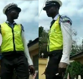 Twitter user shares video of police officer who collected N10k bribe from him after he took a one-way road