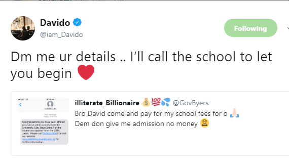 Davido offers to pay school fees of twitter user granted admission in his father