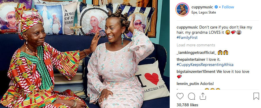 Beautiful photo of DJ cuppy and her grandmother