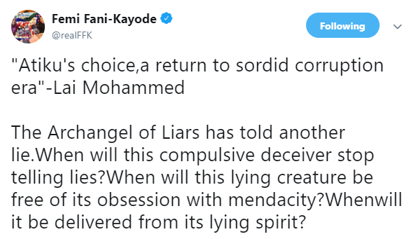 FFK blasts Lai Mohammed over his comments on Atiku, describes him as the