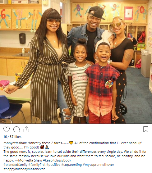 Neyo, his babymama, his wife and all their children pose for a photo as Monyetta Shaw explains why they